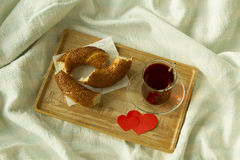 Morning turkish tea in traditional glass with bagel on the trayw Stock Image