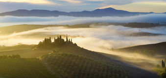 Morning in the Tuscan hills Royalty Free Stock Image