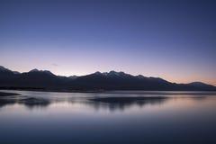 Morning twilight and mountain peak in New Zealand Stock Image