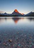 Morning at two medicine lake, glacier national park, MT Royalty Free Stock Image