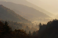 Morning Vale. Overlook of an autumn mountain valley in the morning light - Smoky Mountains NP, USA Royalty Free Stock Photo
