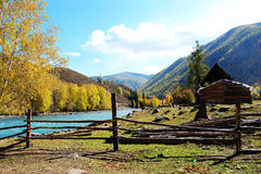 The morning of the valley in Xinjiang. A quiet and peaceful little valley Stock Photos