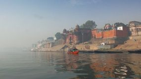 Morning in Varanasi - Ganges River view. Morning in Varanasi - Ganges River fog view Royalty Free Stock Photo