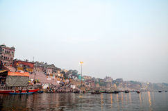 Morning in Varanasi, Rajasthan, India. Morning overview of the banks of Ganges River in Varanasi Royalty Free Stock Photography