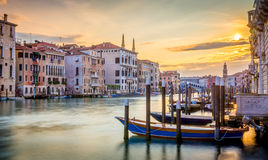 Morning in Venice. Early morning in Venice with boats and silky water Stock Photos