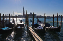Morning in Venice, gondolas, Grand Canal and San Giorgio Maggiore church Royalty Free Stock Photography