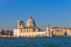 Morning in Venice at Grand Canal in front of Santa Maria church Stock Photos
