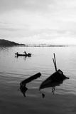 Morning View. A fisherman rowing his boat, at Gelugor sea shores, Penang stock images