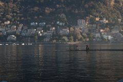 View above big beautiful lake, Como lake, Italy. Royalty Free Stock Photography