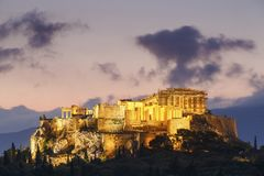 Athens. Morning view of Acropolis from Pnyx in Athens, Greece royalty free stock photography