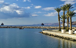 Morning view on Aqaba gulf, Eilat, Israel Stock Images