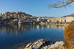 Morning view of aqueduct and old Old town of Kavala, Greece Stock Image