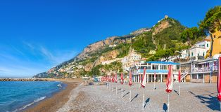 Morning view of beautiful seaside town Amalfi in province of Salerno, region of Campania, Italy. Amalfi coast is popular travel and holyday destination in stock photo