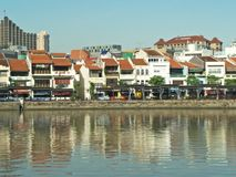 Morning View of Boat Quay stock images