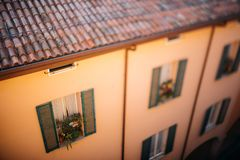 Morning View of Bologna City Italy houses on sunshine Royalty Free Stock Images
