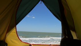 Morning View from Camping Tent Window on Sea and Beautiful Sandy Beach. HD Slowmotion. stock video