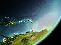 Morning view of Caribbean. Caribbean in the morning highlighted in red on planet Earth. 3D illustration. Elements of this image furnished by NASA Royalty Free Stock Images