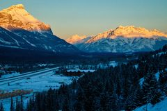 Morning view of Cascade mountain, Banff NP. Morning view of Cascade mountain in Banff NP, Canadian Rockies in morning light, sunrise in Canmore town, Bow valley royalty free stock images