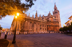 Morning view of  Cathedral of Seville Stock Image