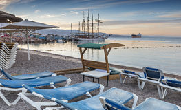 Morning view on the central beach of Eilat Royalty Free Stock Image
