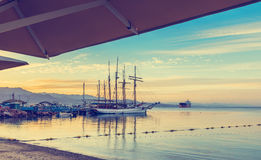 Morning view on the central beach and marina in Eilat, Israel Stock Image
