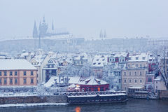 View from Charles bridge on Prague castle Stock Images