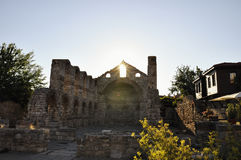 Morning view on Church of St Sophia ruins in Nessebar, Bulgaria. Royalty Free Stock Photo