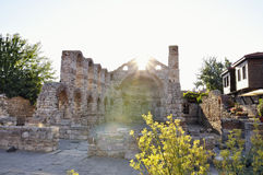 Morning view on Church of St Sophia ruins in Nessebar, Bulgaria. Stock Photos