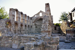 Morning view on Church of St Sophia ruins in Nessebar, Bulgaria. Royalty Free Stock Photos