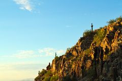 Morning Cliffs. Morning view of a cliff side in the Sonoran Desert with copy space stock photography