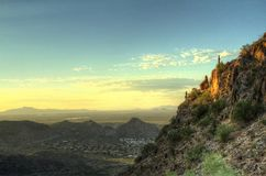 Morning Cliffs in HDR. Morning view of a cliff side in the Sonoran Desert in high dynamic range stock photography