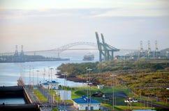 Cocoli Locks landscape, Panama Canal. stock photo