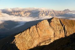 Morning view from Col di Lana to Gruppo Puez. South Tirol, dolomites mountains, Italy Stock Images