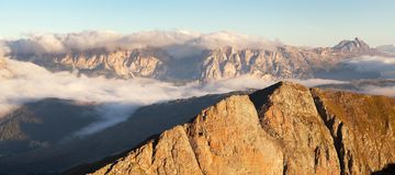 Morning view from Col di Lana to Gruppo Puez. South Tirol, dolomites mountains, Italy Stock Photos
