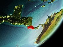Morning view of Costa Rica. Costa Rica in the morning highlighted in red on planet Earth. 3D illustration. Elements of this image furnished by NASA Stock Photo