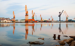Morning view of   cranes  in cargo seaport. Santander, Spain Stock Image