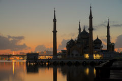 Morning view of crystal mosque in Kuala Terengganu, Malaysia Royalty Free Stock Photo
