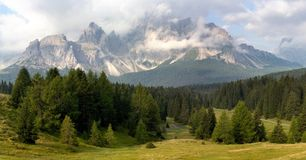Morning view from Dolomiti di Sesto or Sextener Do Stock Image
