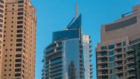 Morning view of Dubai Marina Towers in Dubai timelapse. Morning vew of Dubai Marina modern Towers in Dubai timelapse at sunrise time, United Arab Emirates stock footage