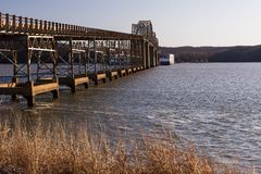Eggner`s Ferry Bridge Collapse - Kentucky Lake, Kentucky. A morning view of the Eggner`s Ferry Bridge after a freight boat collided with the center Pratt through Stock Photography
