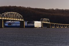 Eggner`s Ferry Bridge Collapse - Kentucky Lake, Kentucky. A morning view of the Eggner`s Ferry Bridge after a freight boat collided with the center Pratt through Stock Photo
