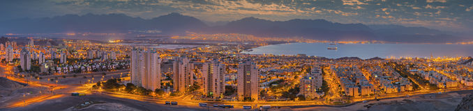 Morning view on Eilat and the gulf of Aqaba Royalty Free Stock Images