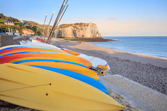 Morning view of Etretat beach, France Stock Image