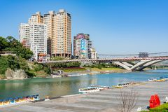 Morning view of the famous Bitan Scenic area in Xindian District. Taipei, DEC 28: Morning view of the famous Bitan Scenic area in Xindian District on DEC 18 stock images