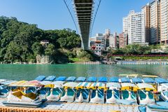 Morning view of the famous Bitan Scenic area in Xindian District. Taipei, DEC 28: Morning view of the famous Bitan Scenic area in Xindian District on DEC 18 stock image
