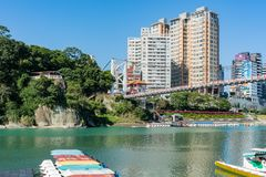 Morning view of the famous Bitan Scenic area in Xindian District. Taipei, DEC 28: Morning view of the famous Bitan Scenic area in Xindian District on DEC 18 stock photo