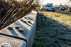 Morning View of frozen UK Motorway Roundabout Stock Image