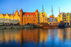 Morning view on Gdansk old town from embankment Royalty Free Stock Image