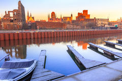 Morning view on Gdansk old town from marina Royalty Free Stock Photos
