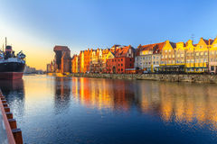 Morning view on Gdansk old town from waterfront Royalty Free Stock Photography
